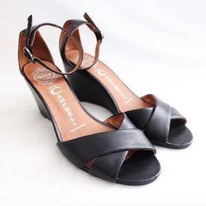 Jeffrey Campbell Trudeau Leather Wedge Sandals